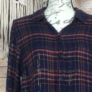 Lucky Brand Tops - Lucky Brand | Blue Metallic Plaid Button Up Shirt